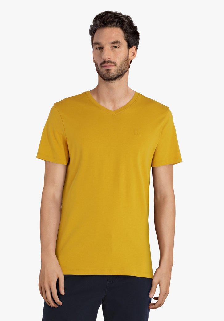 Mosterdgeel katoenen T-shirt met V-hals