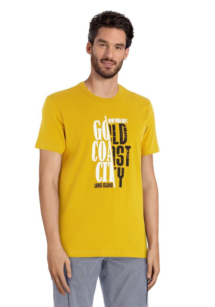 Mosterdgeel T-shirt met print en ronde hals
