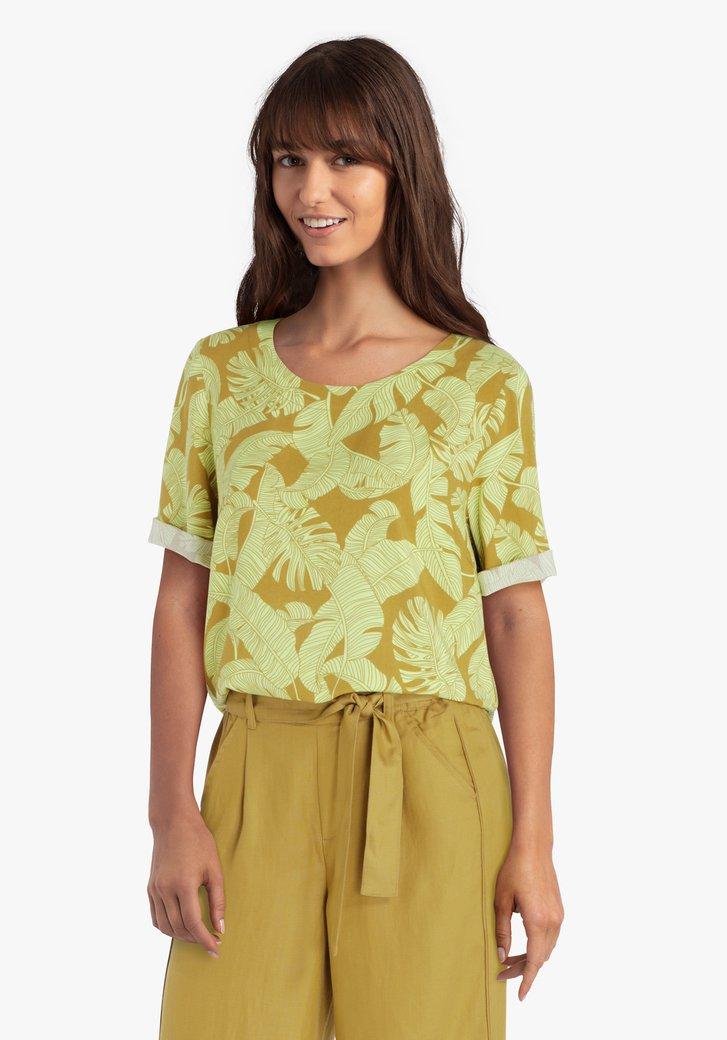 Mosterdgele blouse met tropische print