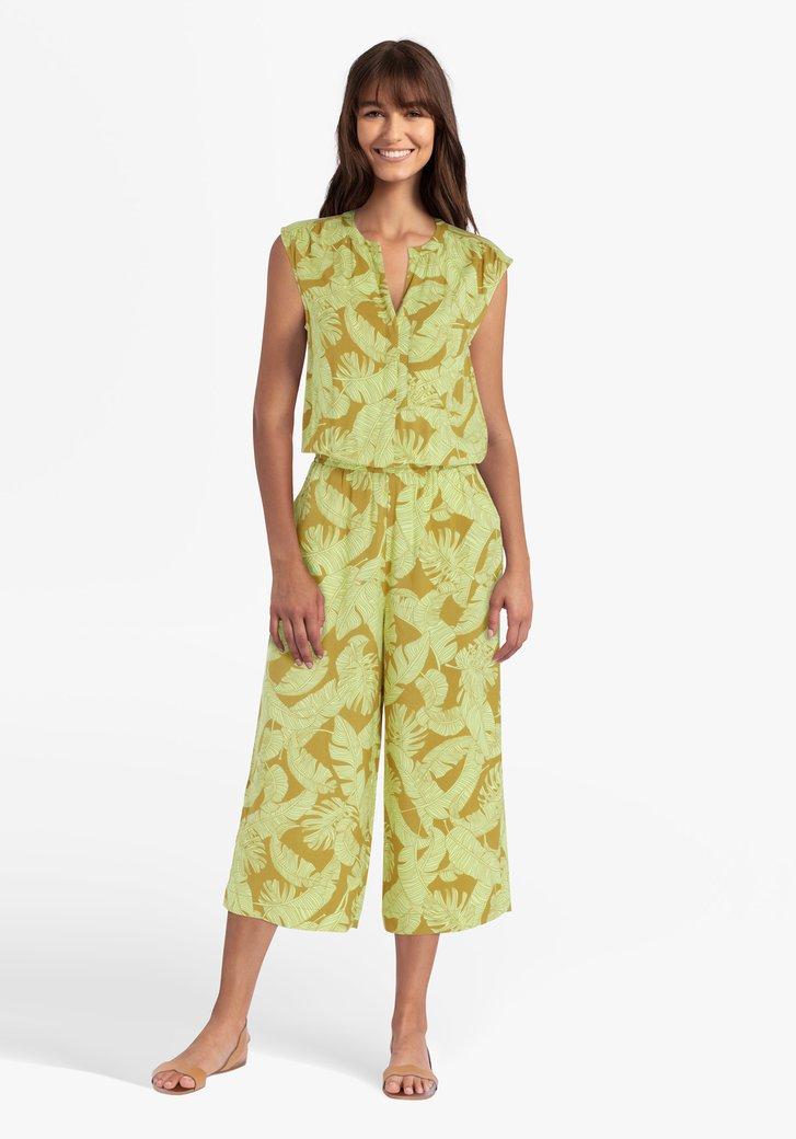 Mosterdgele jumpsuit met tropische print