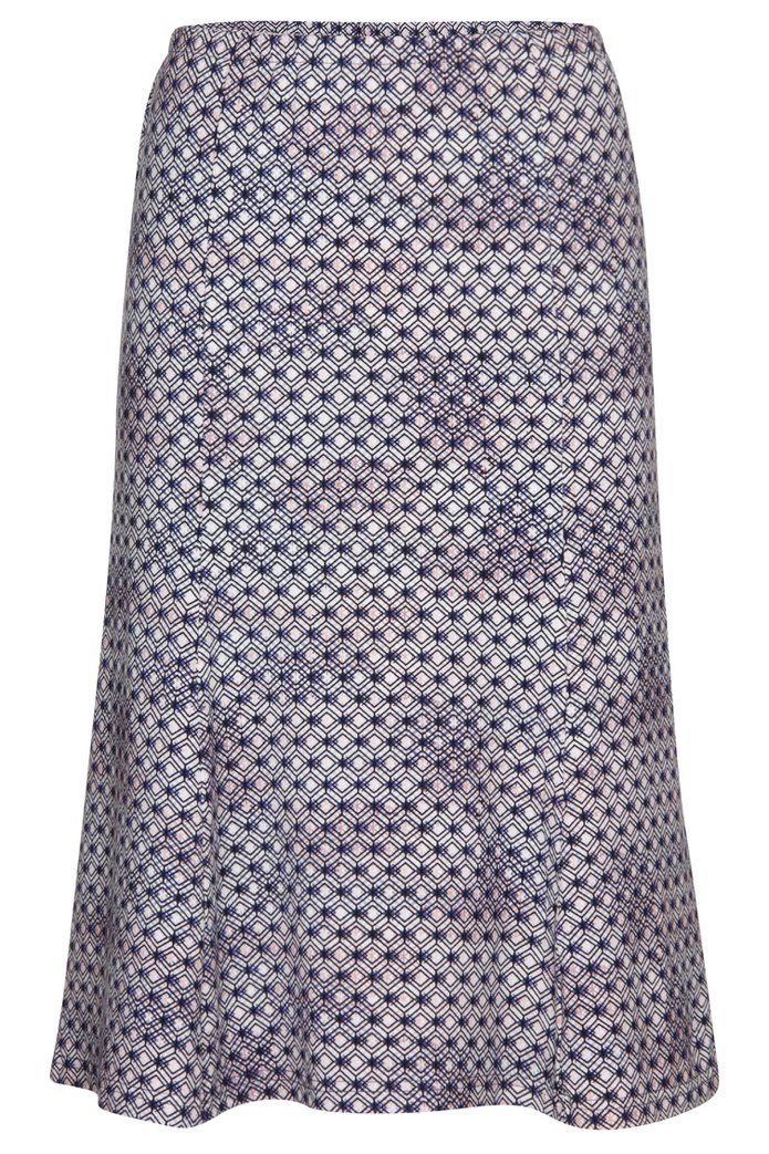 66063ae2e4bf37 Navy A-lijn rok met geometrische print