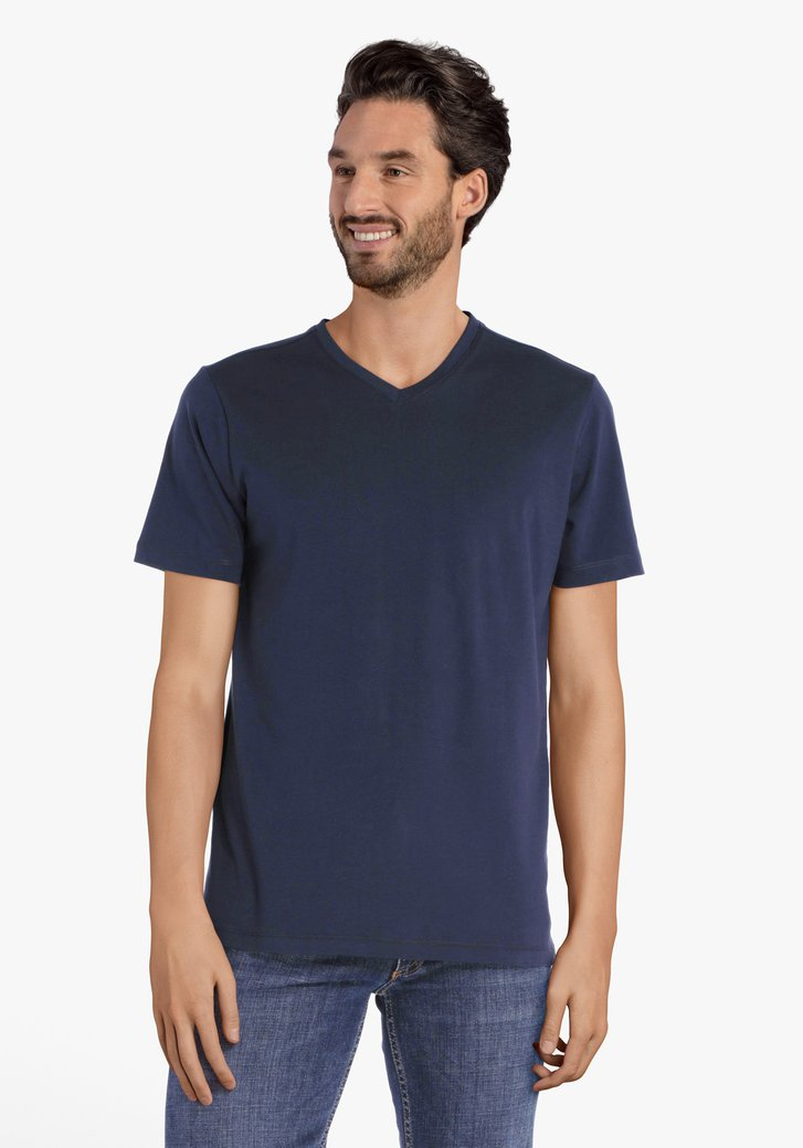 Navy basic T-shirt met V-hals