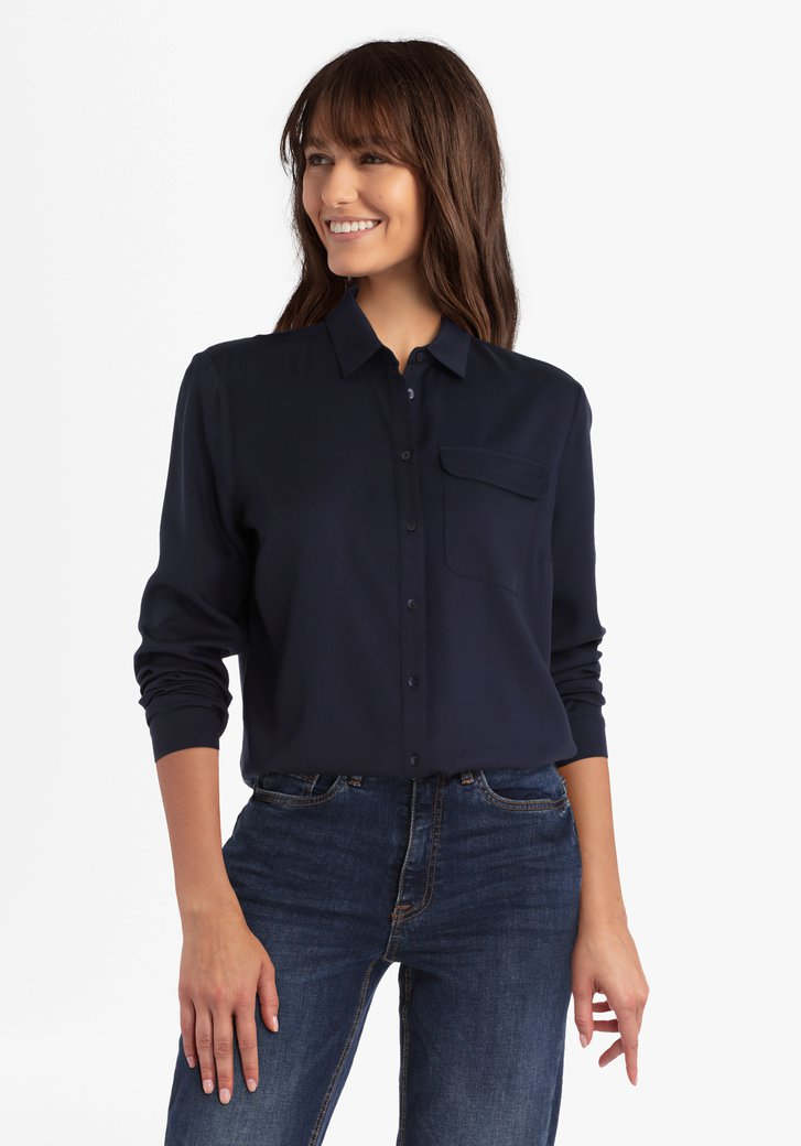 Navy blouse in viscose