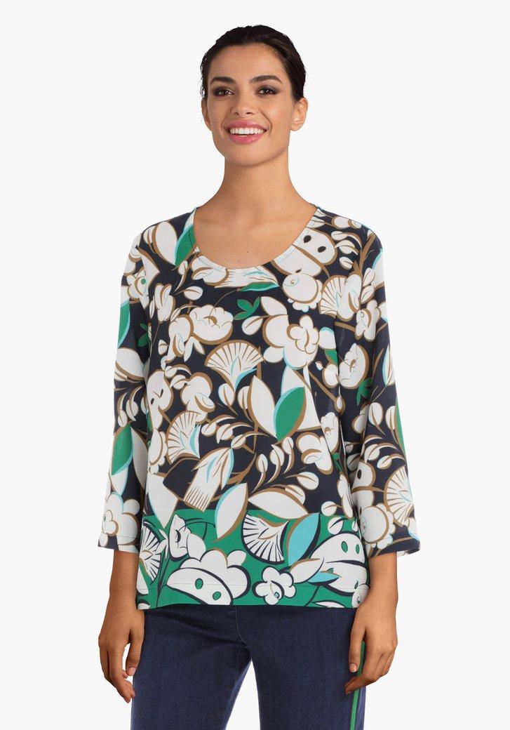 Navy blouse met ecru bladerprint