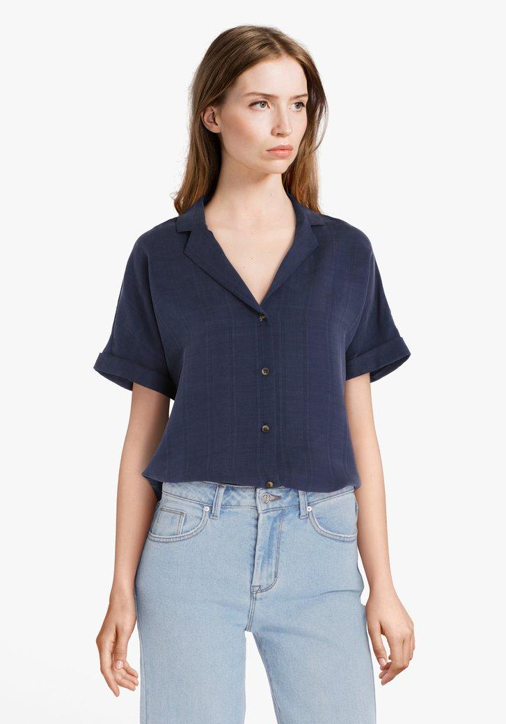 Navy blouse met fijn structuurmotief
