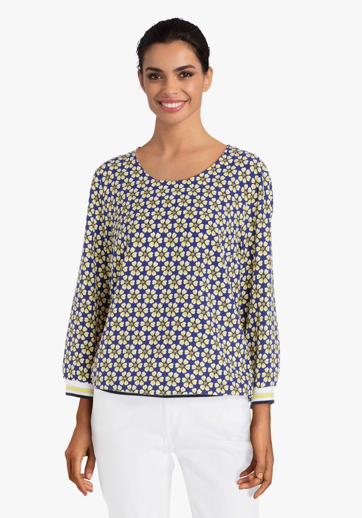 Navy blouse met gele bloemen