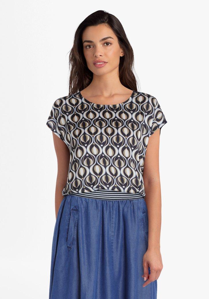Navy blouse met geometrische print