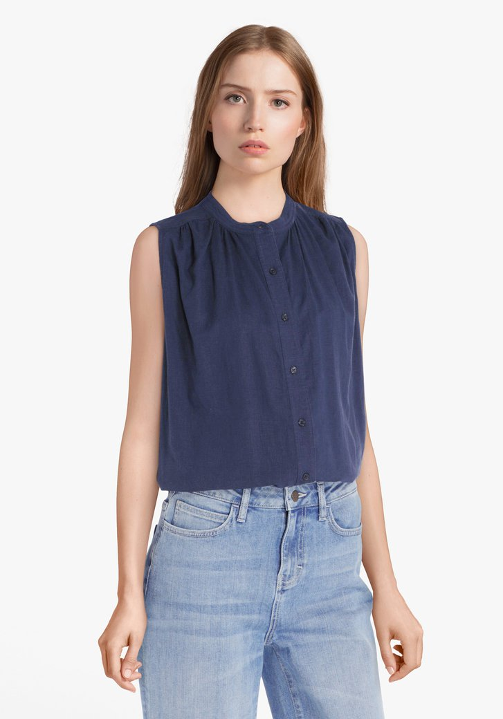 Navy blouse met linnen