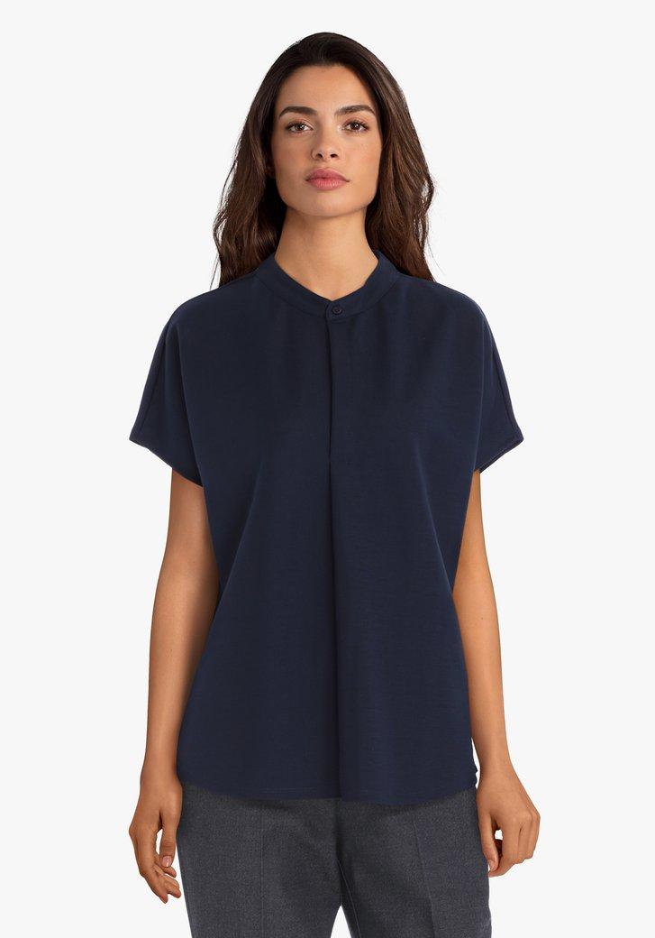 Navy blouse met maokraag