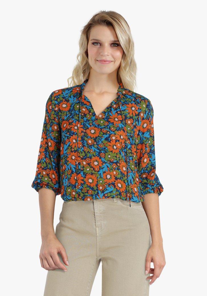 Navy blouse met oranje en groene bloemenprint