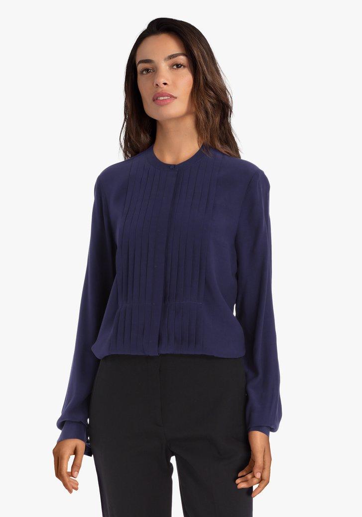 Navy blouse met plissé stof