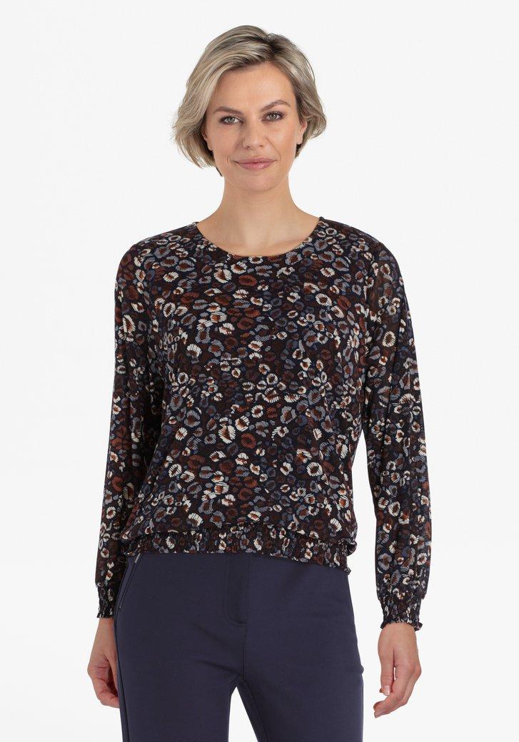 Navy blouse met print