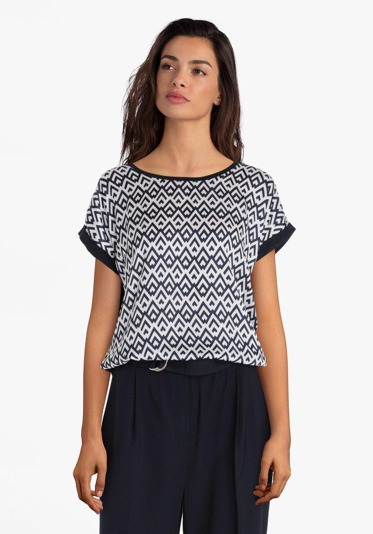 Navy blouse met print en glanzende voorkant