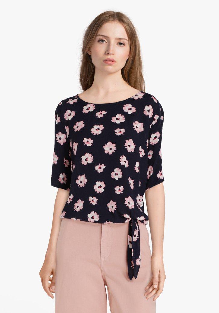 Navy blouse met roze bloemen in viscose