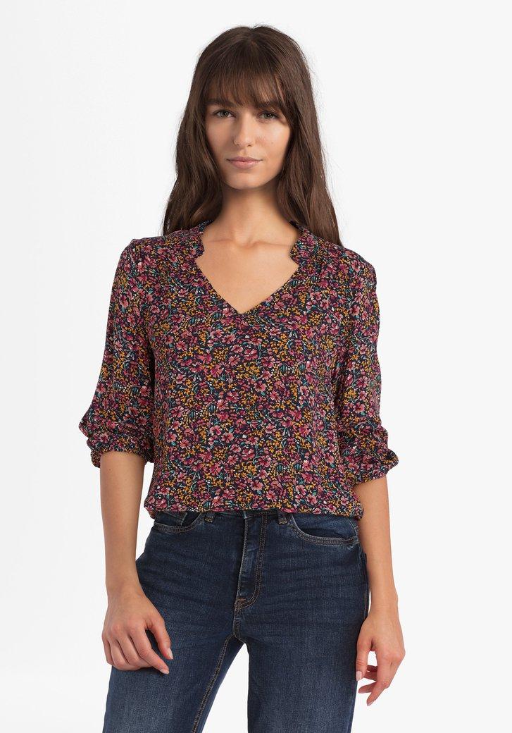Navy blouse met roze bloemenprint in viscose