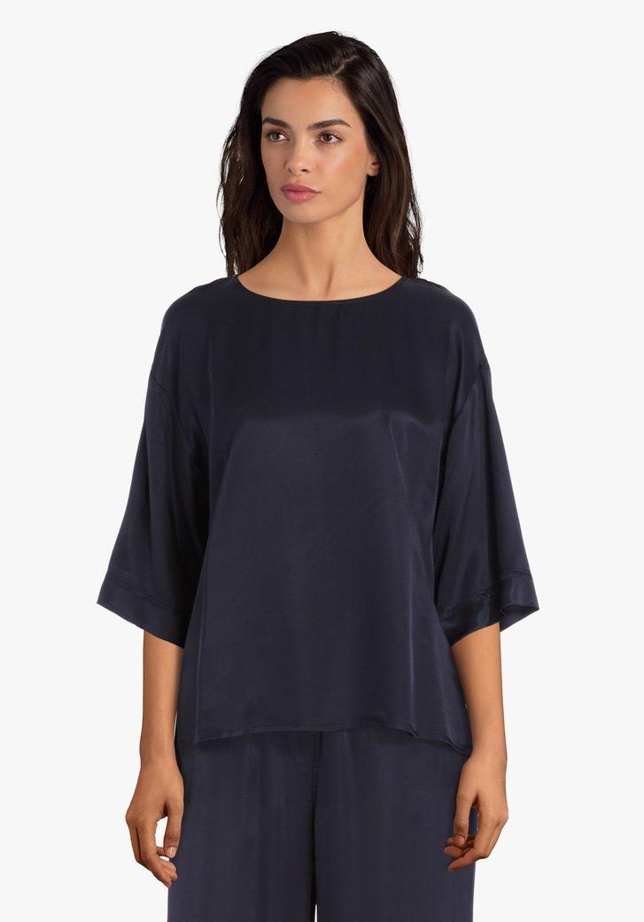 Navy blouse met zijdelook
