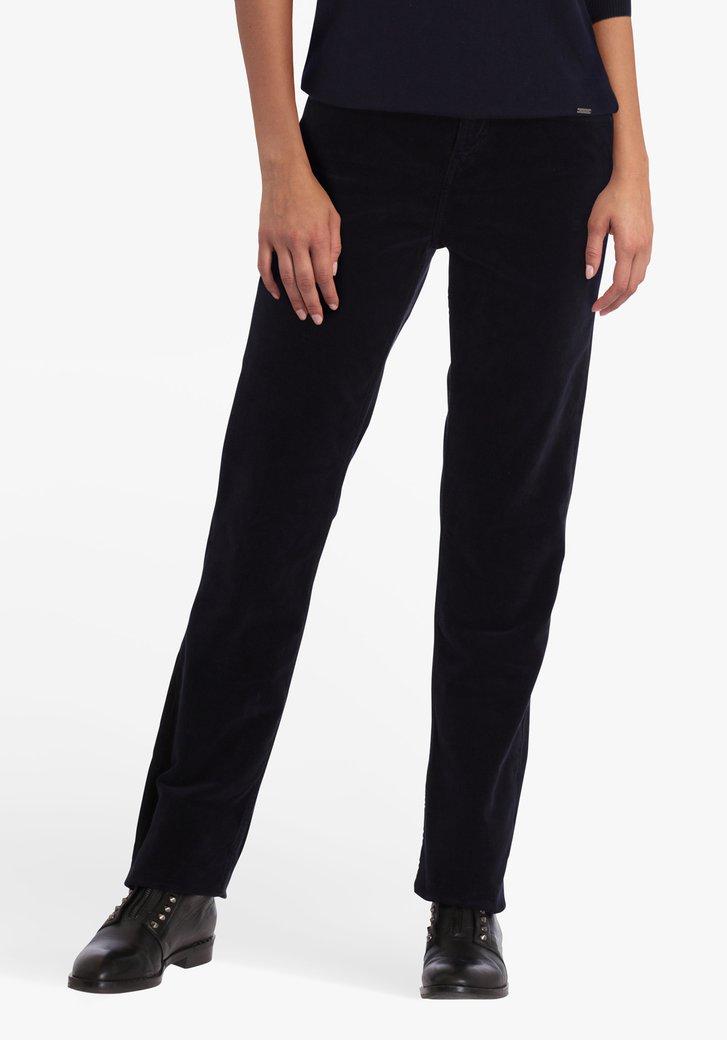 Navy broek in ribfluweel - straight fit