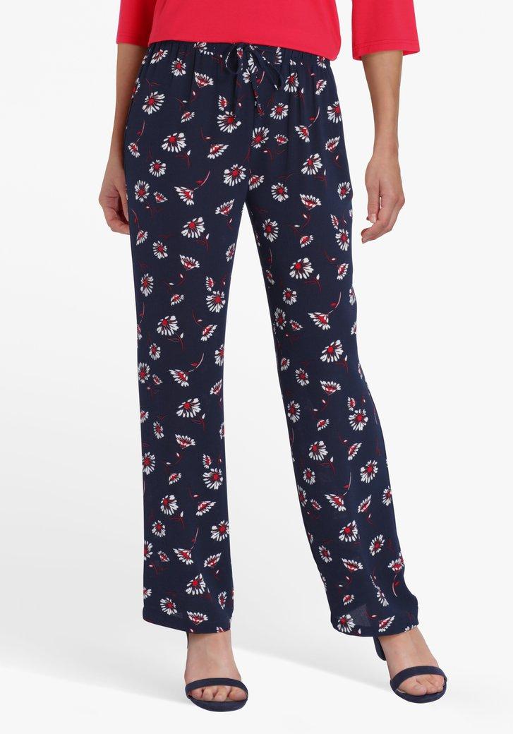 Navy broek met bloemenprint en elastische taille