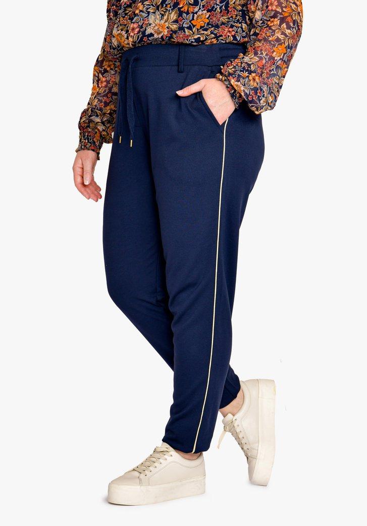 Navy broek met elastische taille - slim fit