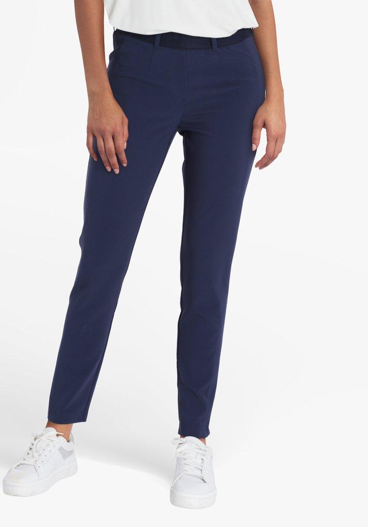 Navy broek met elastische tailleband - slim fit