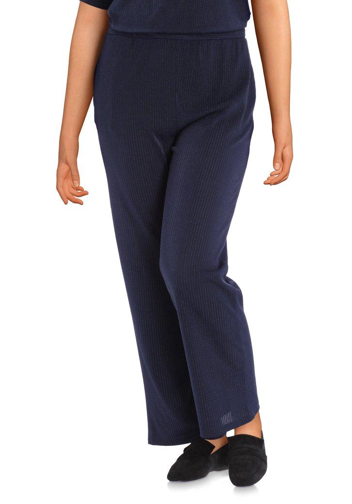 Navy broek met structuurstof in lurex-straight fit