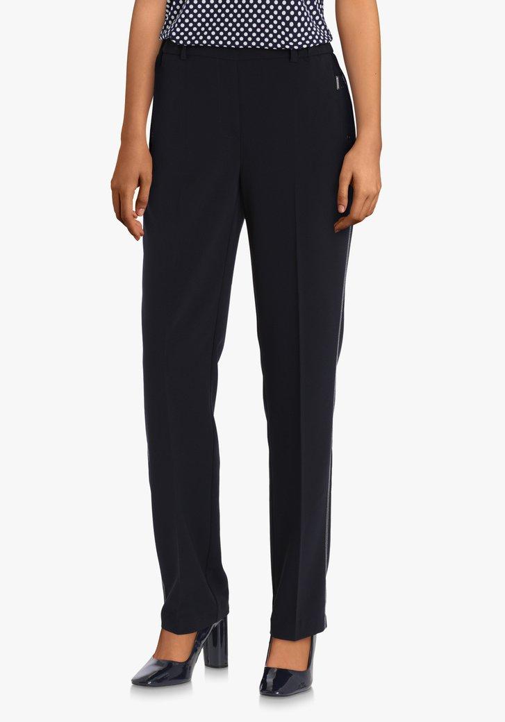 Navy broek met wit biesje – slim fit