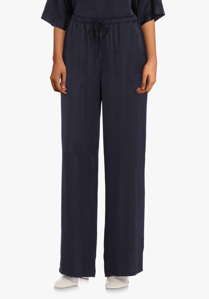 Navy broek met zijdelook – straight fit