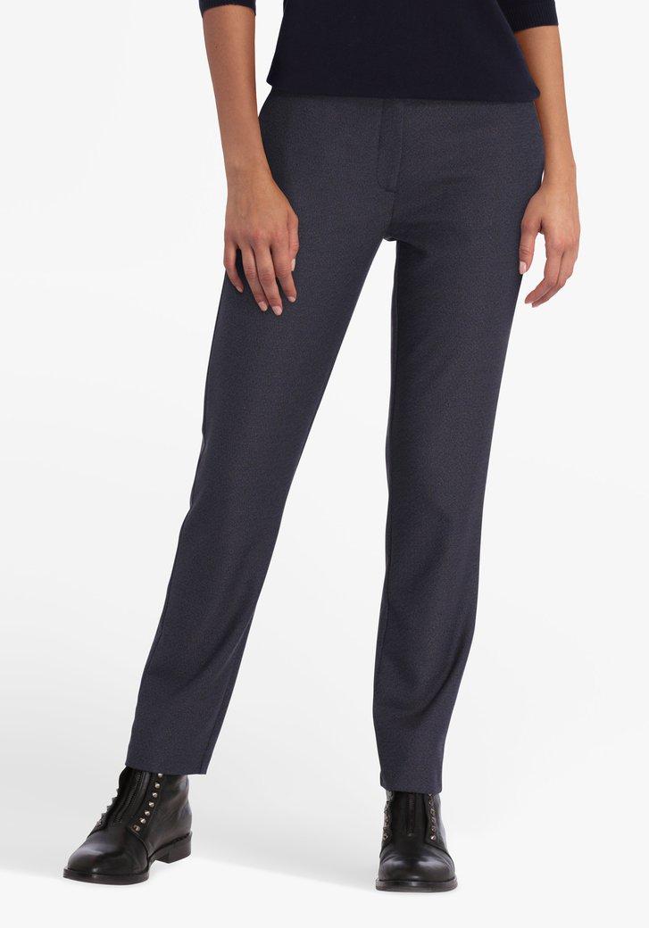 Navy-bruine broek met elastische taille - slim fit