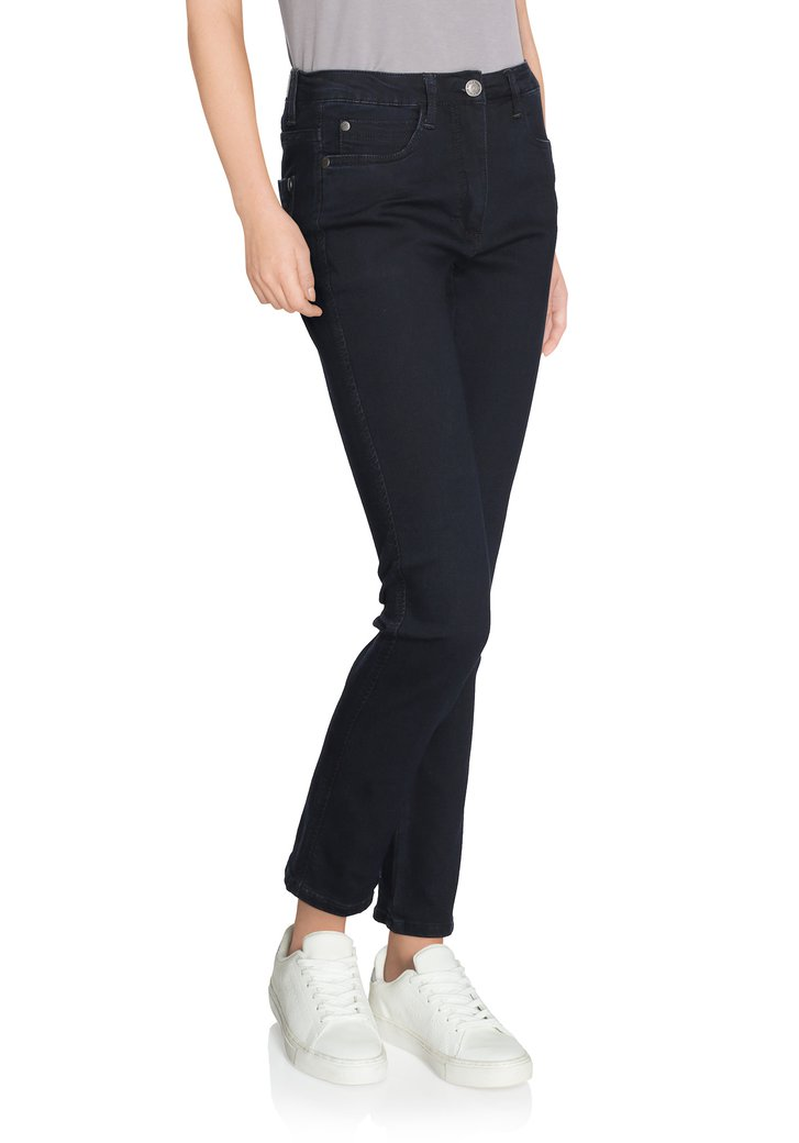 Navy denim met stretch - straight fit