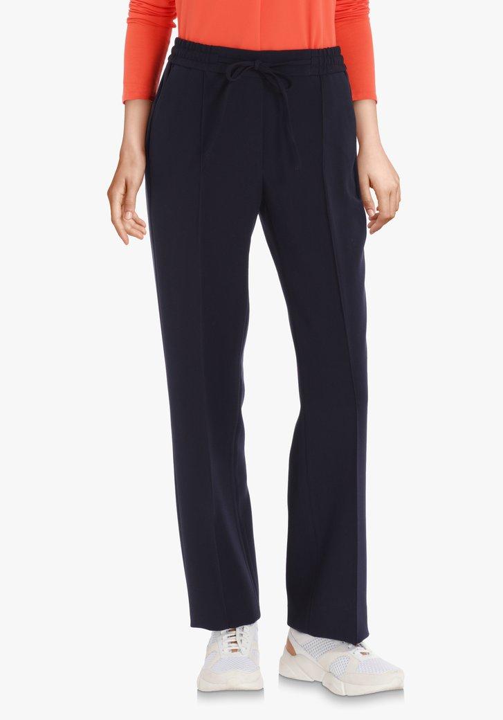 Navy geklede broek met elastische taille