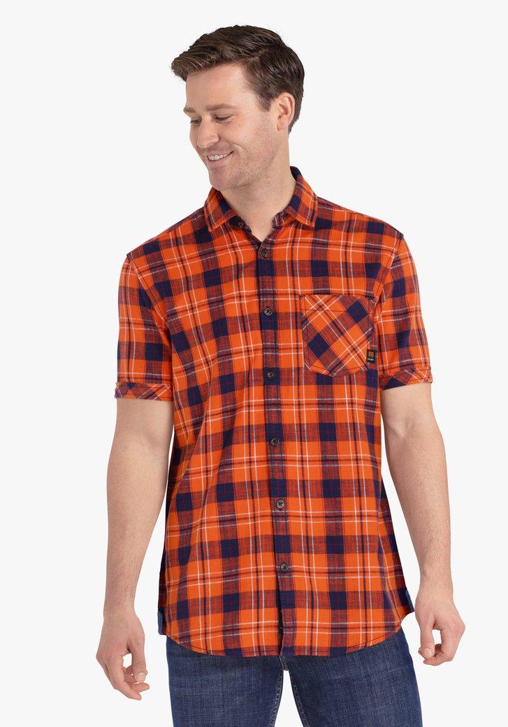 Navy geruit oranje hemd met korte mouwen