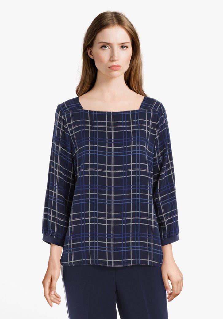 Navy geruite blouse in viscose