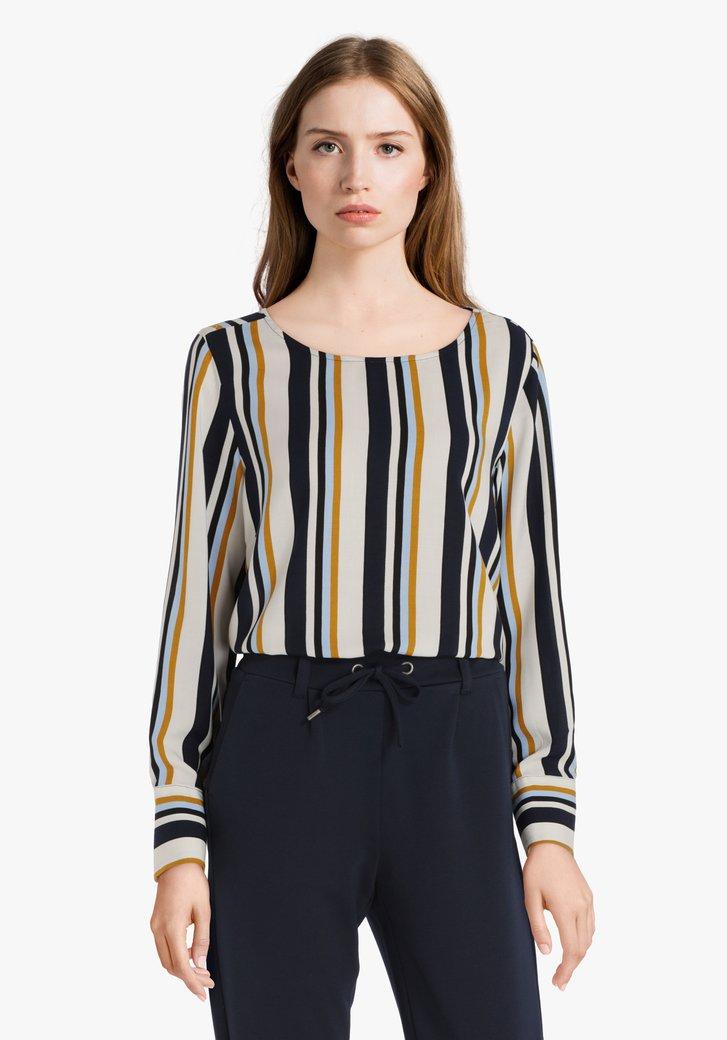 Navy gestreepte blouse in viscose
