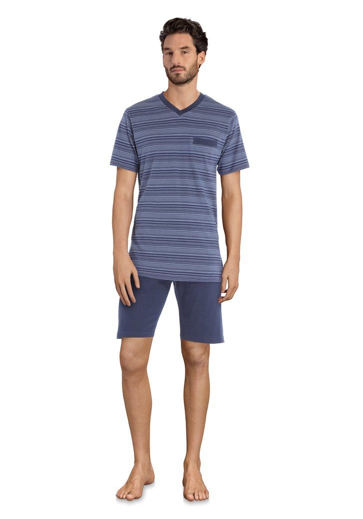 Navy gestreeptje pyjama - korte mouwen/broek