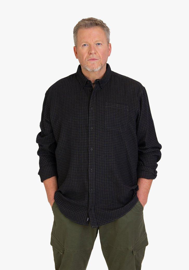 Navy-groen geruit hemd - regular fit