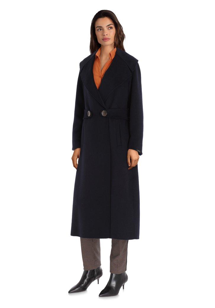 Afbeelding van Navy handgemaakte wollen mantel
