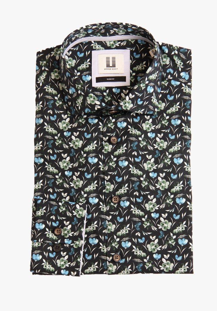 Navy hemd met bloemenprint - slim fit