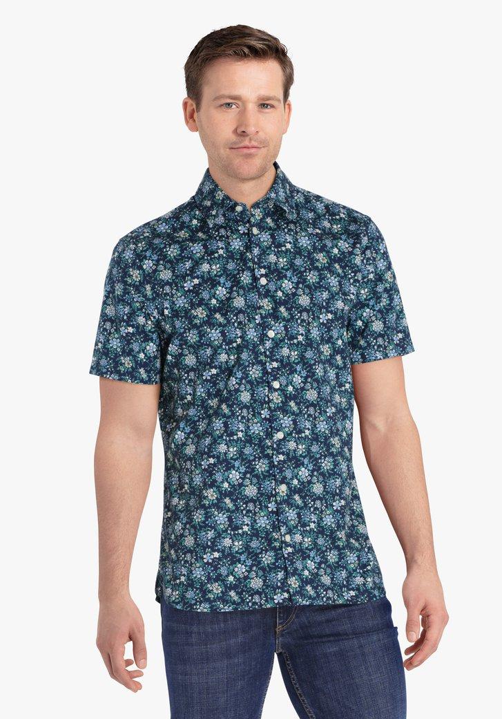Navy hemd met bloemetjesprint - regular fit