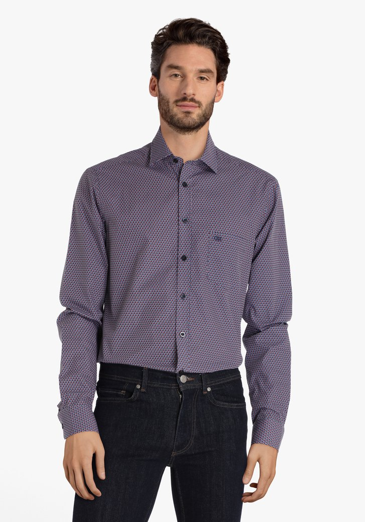 Navy hemd met cirkelvormig patroon - regular fit