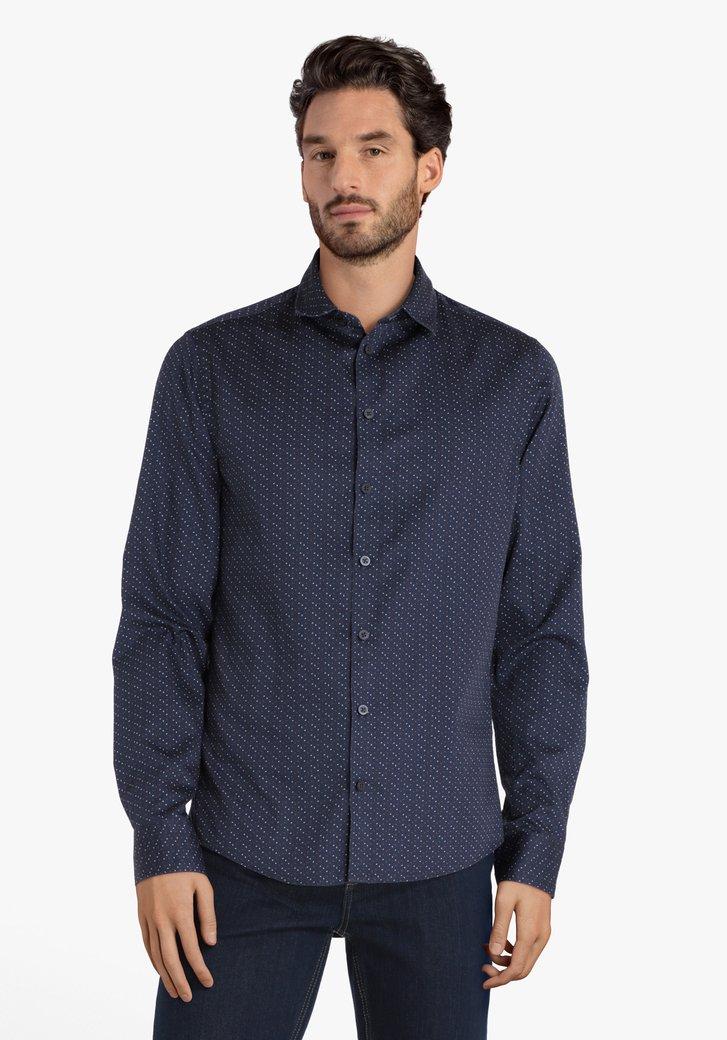 Navy hemd met fijn patroon - slim fit