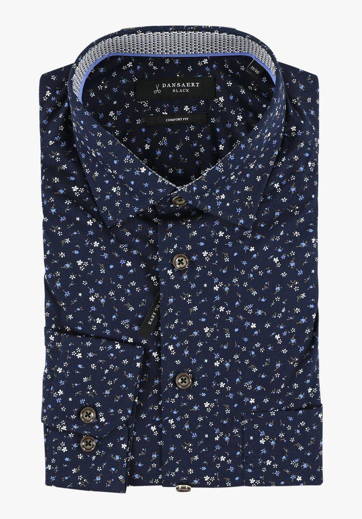 Navy hemd met fijne bloemen - comfort fit