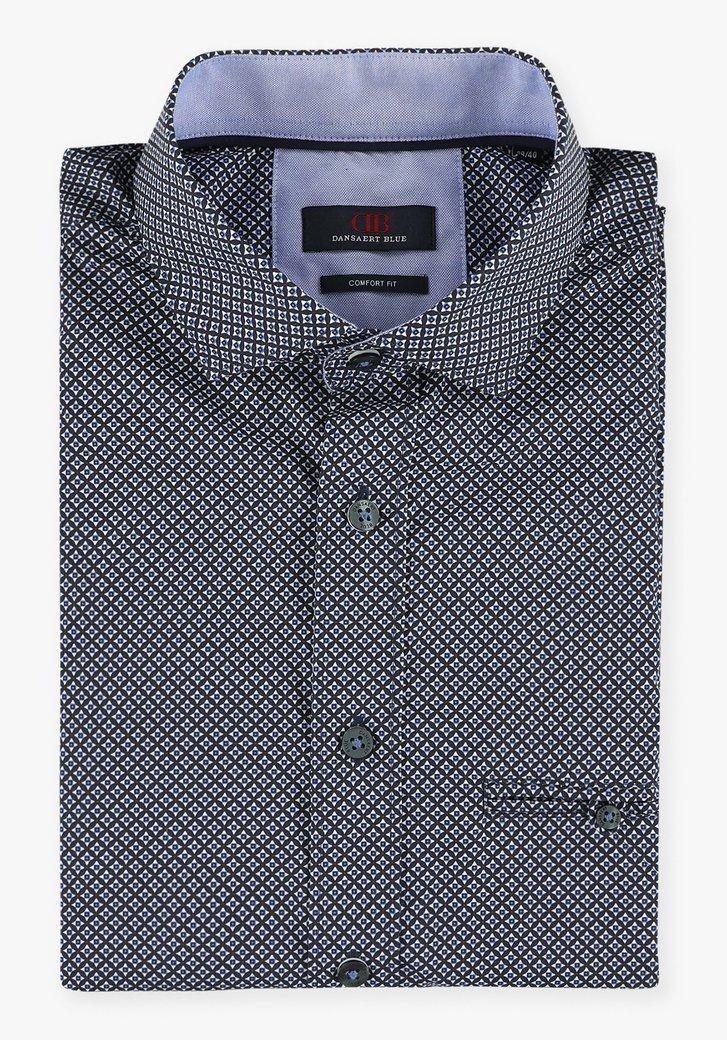 Navy hemd met geometrische print - comfort fit
