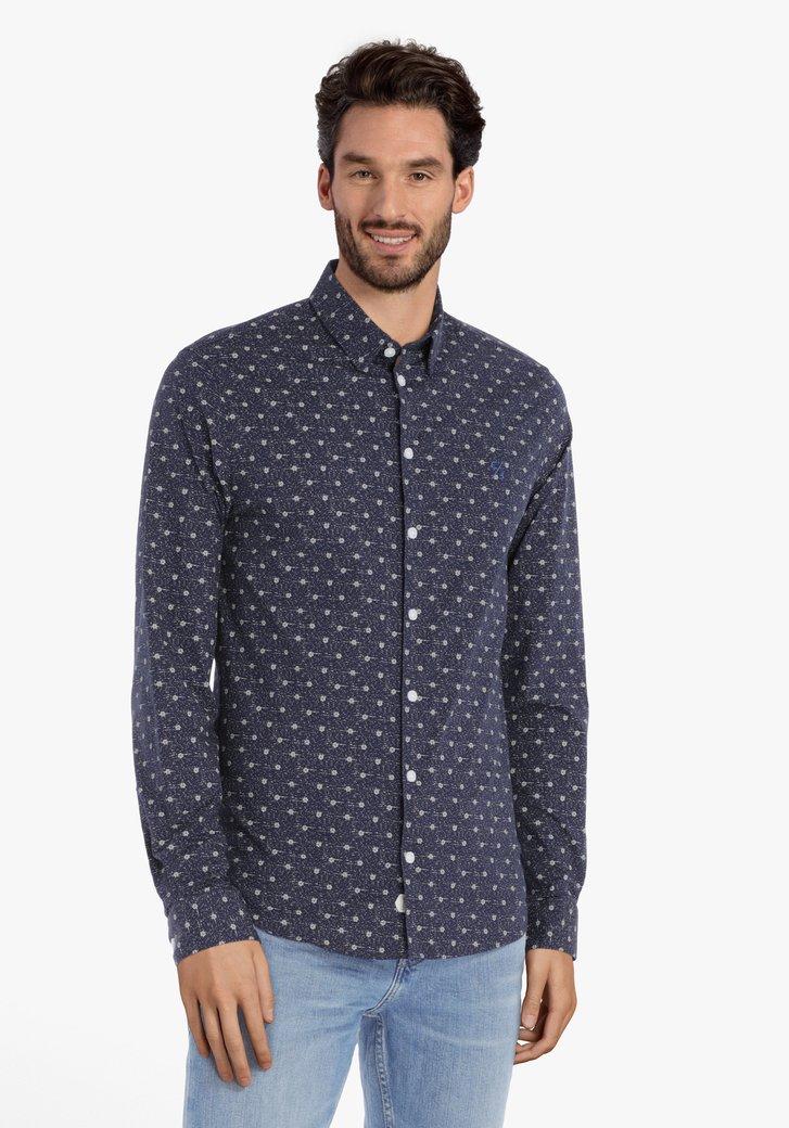 Navy hemd met grijze miniprint – slim fit
