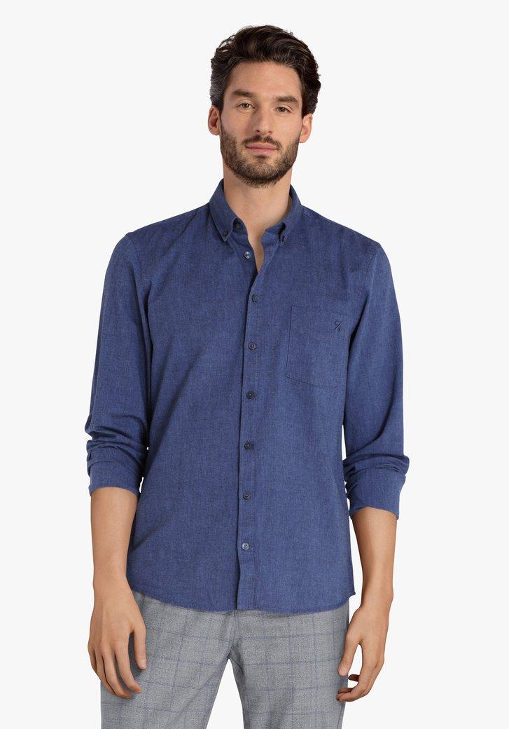 Navy hemd met jeans look - regular fit