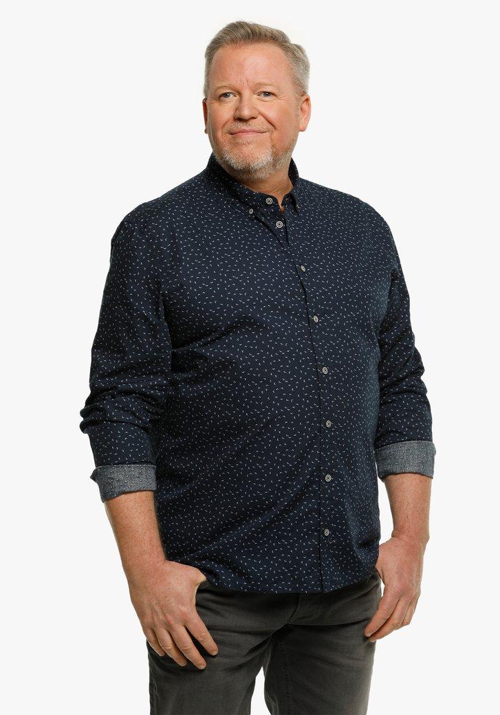 Navy hemd met kleine blauwe print
