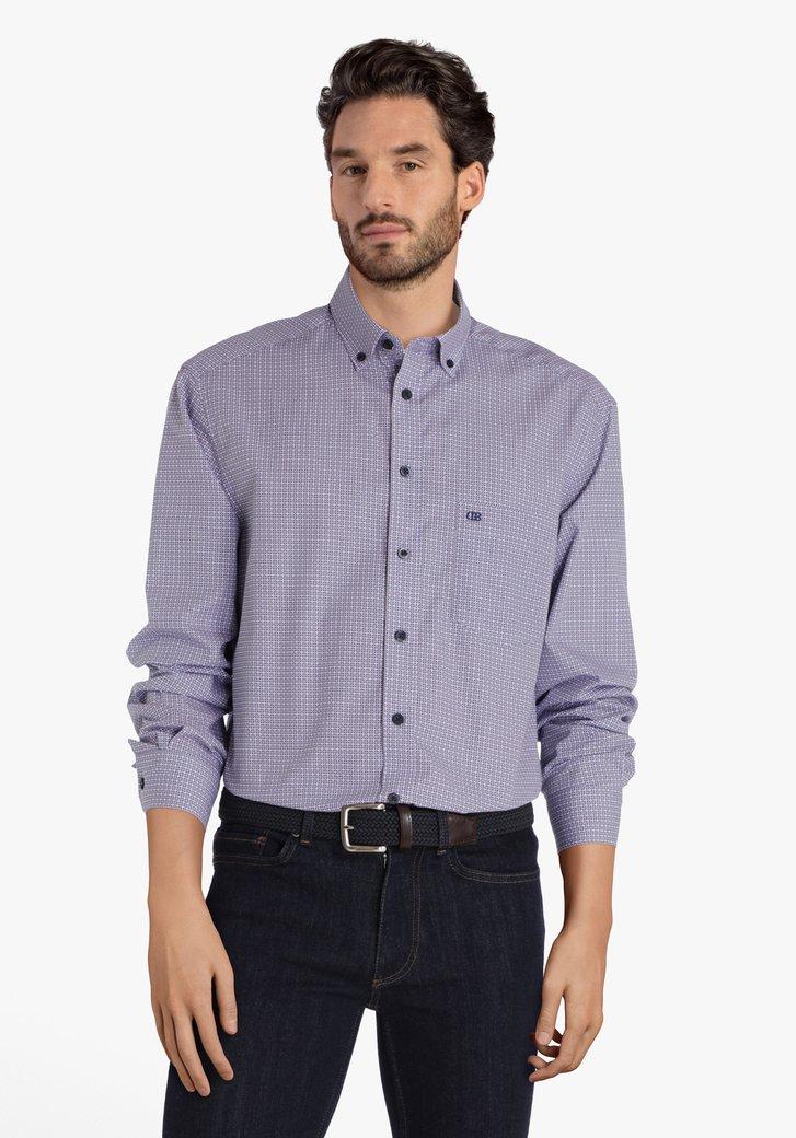 Navy hemd met miniprint - comfort fit