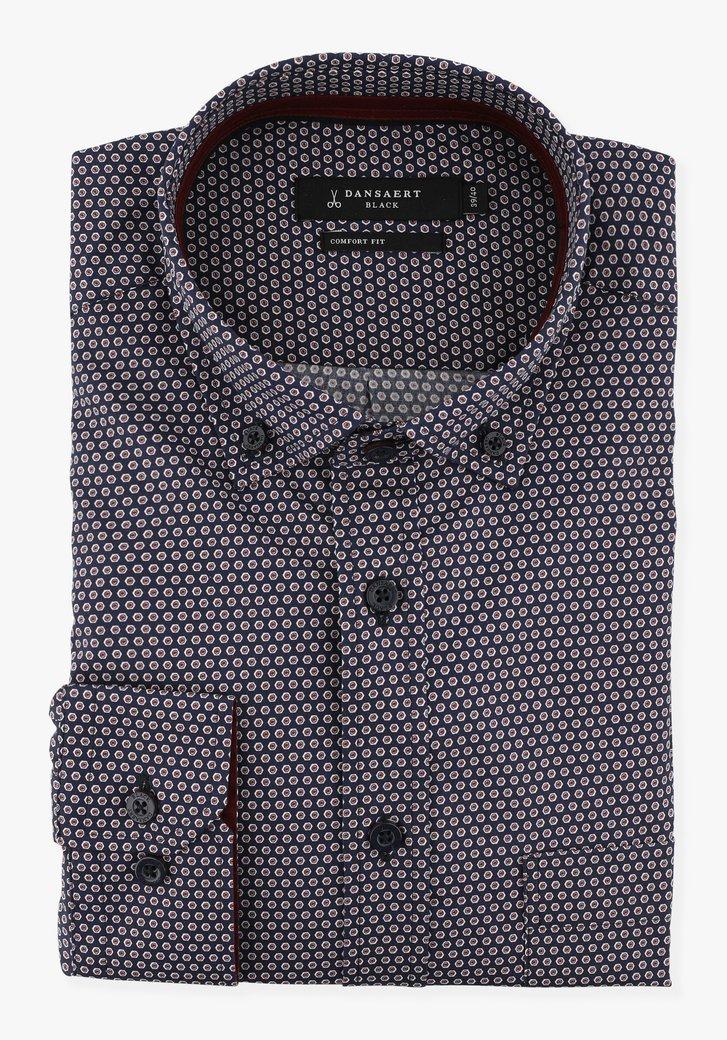 Navy hemd met rode print - comfort fit