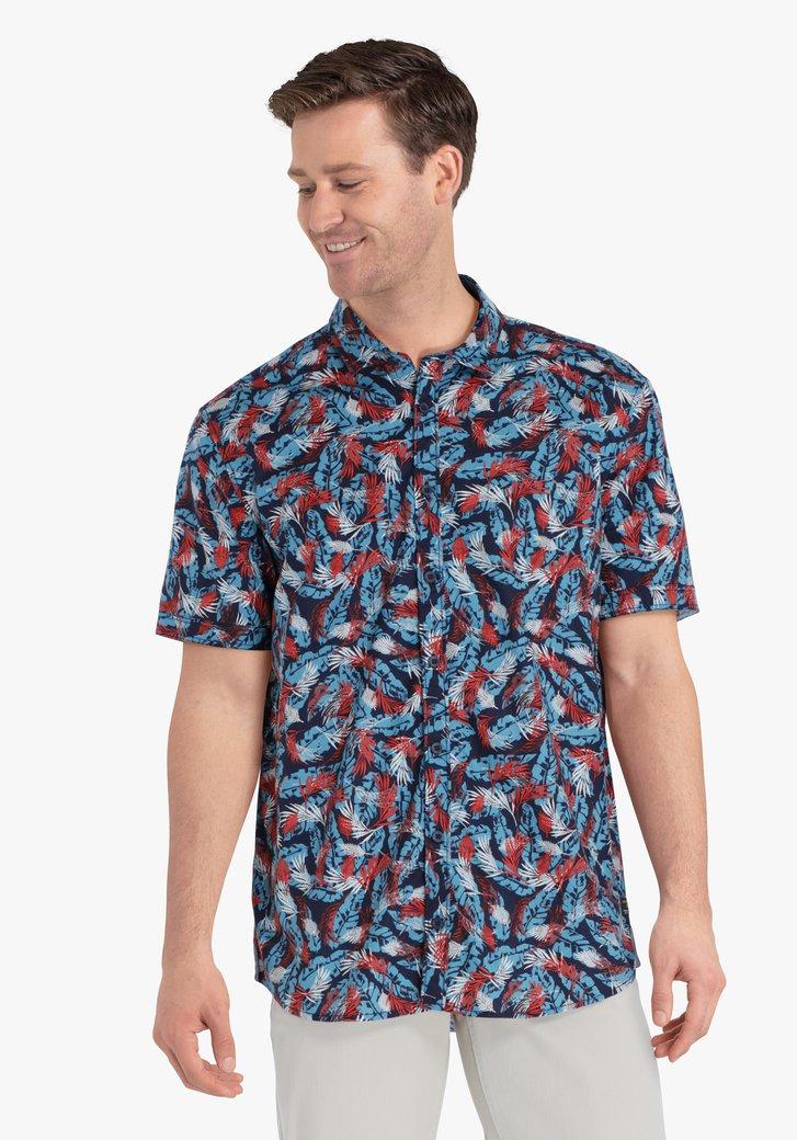 Navy hemd met tropische bladerprint