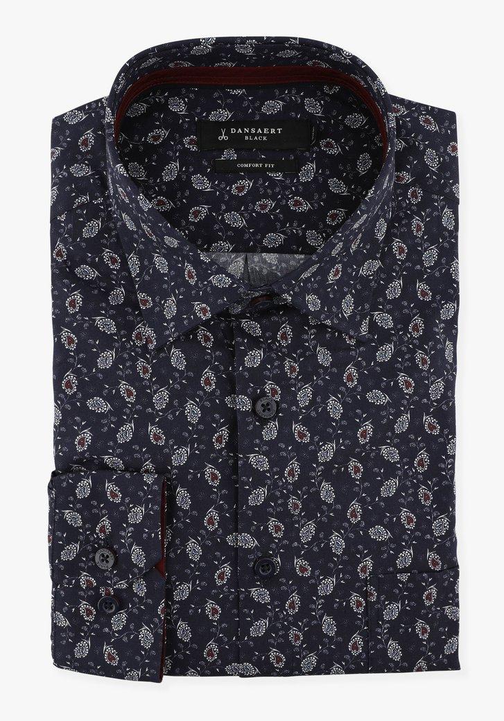 Navy hemd met witte print - comfort fit