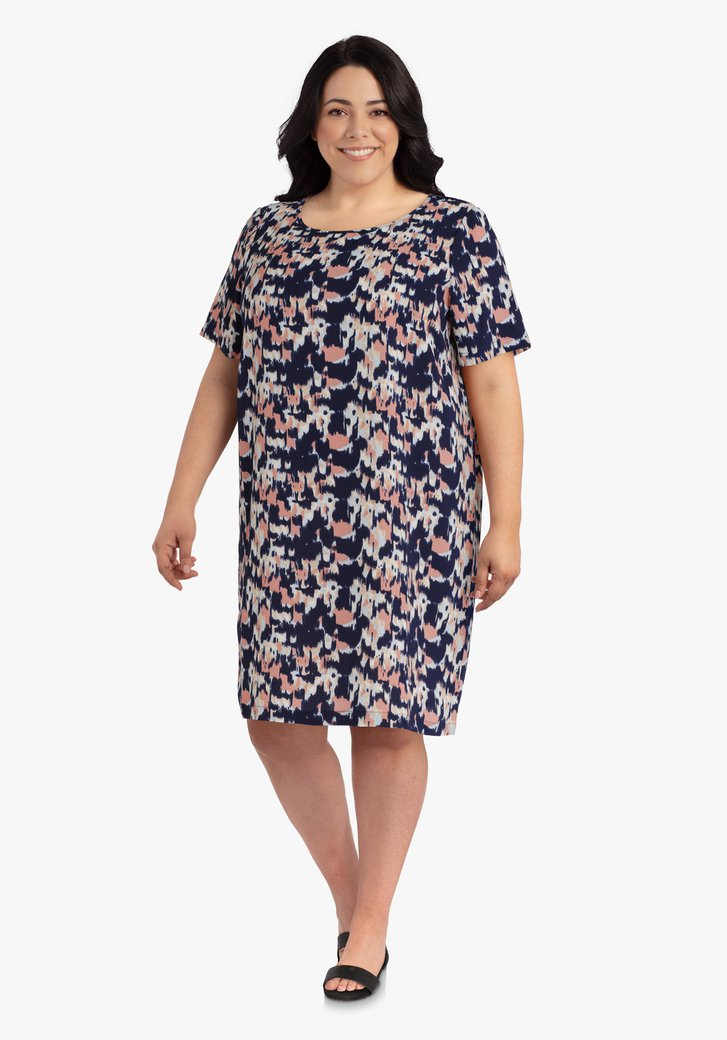 Afbeelding van Navy kleed met flou oudroze motief